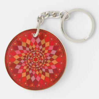 Red Pinata Mandala Double-Sided Round Acrylic Key Ring