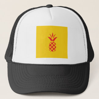 Red Pine Apple in Yellow. Trucker Hat