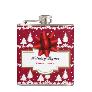 Red Pine Trees Holly and Snow Hip Flask