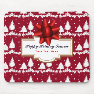 Red Pine Trees Holly and Snow Mouse Mat