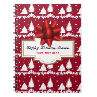 Red Pine Trees Holly and Snow Notebooks