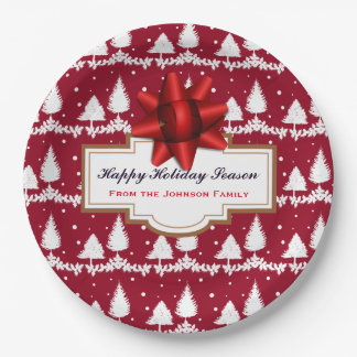 Red Pine Trees Holly and Snow Paper Plate