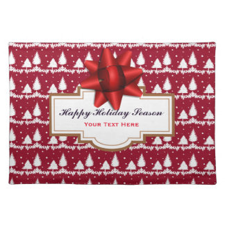 Red Pine Trees Holly and Snow Placemat