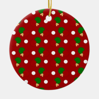 Red ping pong pattern christmas ornaments