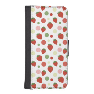 Red Pink and Green Strawberries & Polka Dots iPhone 5 Wallet Cases