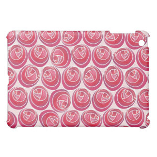 Red, Pink and White Art Nouveau Roses iPad Cases