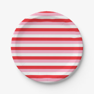 Red, Pink and White Stripes Paper Plate