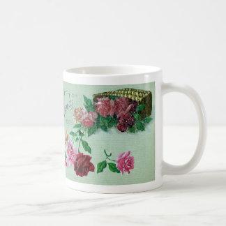 Red Pink and Yellow Roses Birthday Basic White Mug