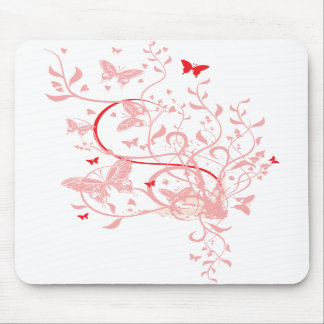 Red Pink Butterfly Mousepad