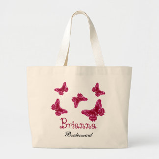 Red Pink Butterfly Personalized Name Bridesmaid Jumbo Tote Bag