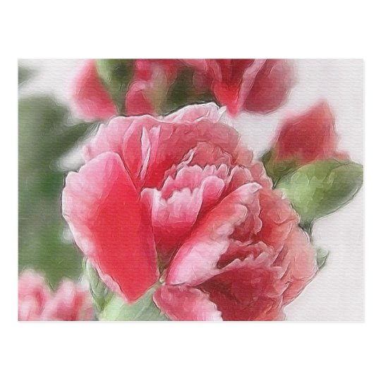 Red-Pink Carnations 1 Painterly Postcard