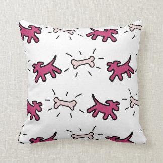 Red Pink Dog and Bone Graffiti Style Pillow 1