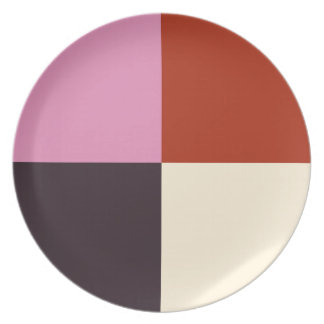 Red Pink Eggplant Ivory Plate