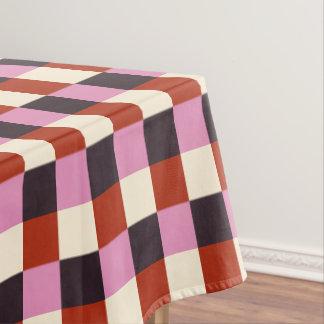 Red Pink Eggplant Ivory Retro Plaid Tablecloth