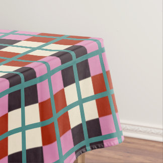 Red Pink Eggplant Ivory Teal Pattern Tablecloth