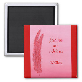 Red Pink Feathers Save the date wedding magnets