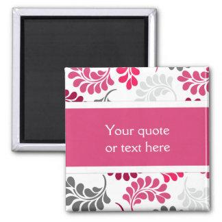 Red Pink Floral Monogram Pattern Magnet