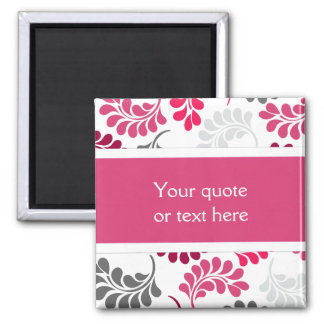 Red Pink Floral Monogram Pattern Square Magnet