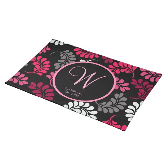 Red Pink Floral Monogram Place Mats