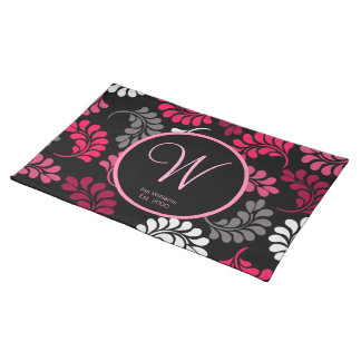 Red Pink Floral Monogram Placemat