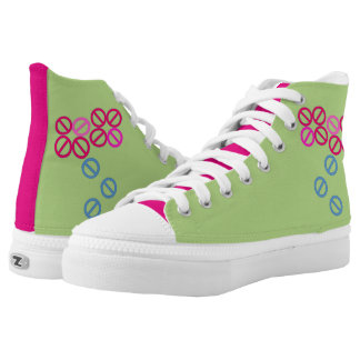 Red Pink Flower Floral Blossom High Top Shoes Printed Shoes