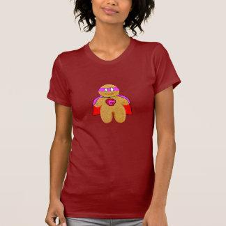 red & pink gingerbread man super hero dark t-shirt