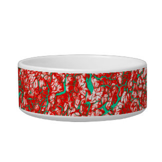 Red Pink Green Abstract Pattern Bowl