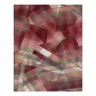 Red pink grey plaid collage stripes pattern design poster