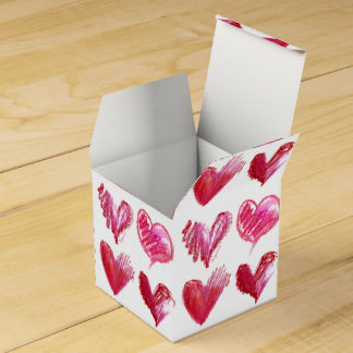 Red Pink Hearts 4 Paper Box Wedding Favor Box