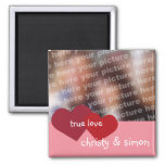 Red pink hearts true love custom photo valentine square magnet