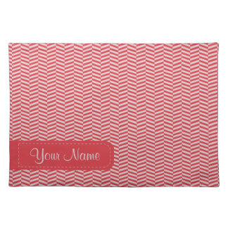Red Pink Herringbone ZigZags Pattern Placemat