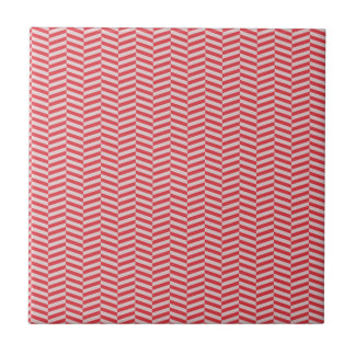 Red Pink Herringbone ZigZags Pattern Tile