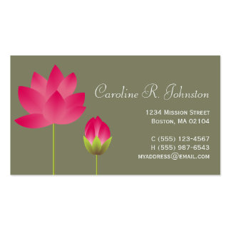 Red pink lotus flower modern tea green personal pack of standard business cards