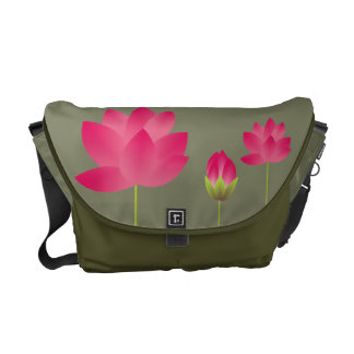 Red pink lotus flowers blossoms modern moss green commuter bags
