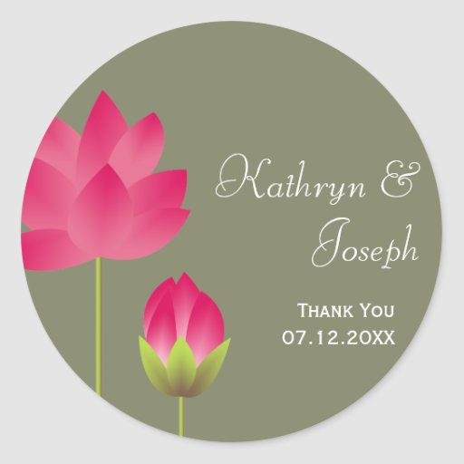 Red pink lotus flowers tea green wedding favor stickers