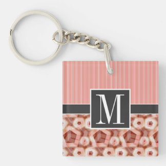 Red & Pink Pentagon Double-Sided Square Acrylic Key Ring