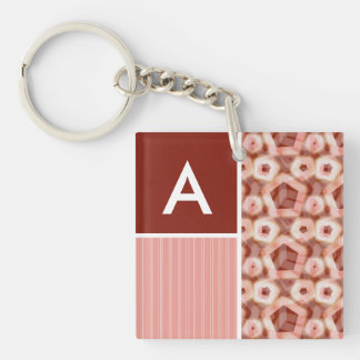 Red Pink Pentagon Pattern Acrylic Keychain