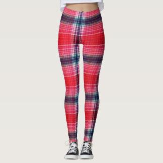 Red & Pink Plaid Leggings