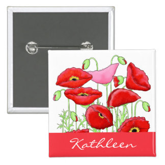 Red Pink Poppies Art Custom Name Badge