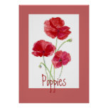 Red & Pink Poppies, Garden, Flowers, Floral Print