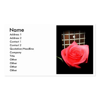 Red pink rose against five string bass fret board pack of standard business cards