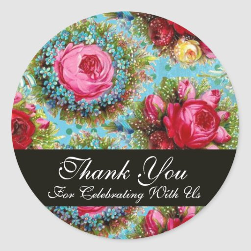 RED PINK ROSES AND BLUE FLOWERS  Thank You Round Stickers