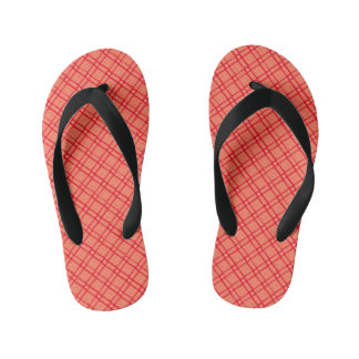 Red, Pink Textured Square, Oblong, Circle Pattern Kid's Flip Flops