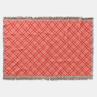 Red, Pink Textured Square, Oblong, Circle Pattern Throw Blanket