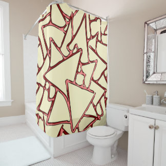 Red Pink Triangles Shower Curtain