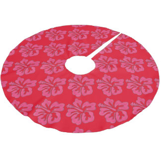 Red Pink Tropical Hibiscus Flower Print Tree Skirt Brushed Polyester Tree Skirt