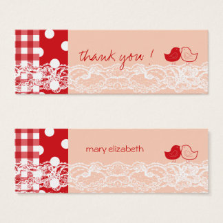 Red & Pink Twin Birds Birthday Party DIY Gift Tags Mini Business Card