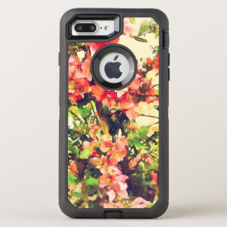 Red Pink Watercolor Floral Pattern 1 OtterBox Defender iPhone 8 Plus/7 Plus Case