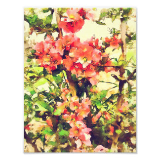 Red Pink Watercolor Floral Pattern 1 Photo