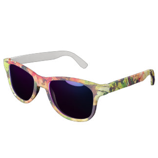 Red Pink Watercolor Floral Pattern 1 Sunglasses
